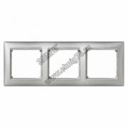 770353 Рамка х3 алюминий/серебро VALENA