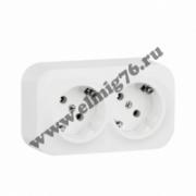 782223 Розетка Legrand Quteo 2-местная евро двойная открытой проводки со шторками, белая