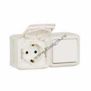 782318 Блок: Выключатель + розетка с заземлением со шторками наружный белый IP44 Quteo