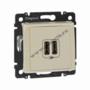 774170 Зарядное устройство с 2-мя коннекторами USB - 1500 мА - слоновая кость VALENA
