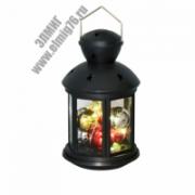 ULD-L1220-010/DTB/RGB/10LED+шарики 12х20см, Black Фонарь со светодиодной гирляндой, на батарейке, черный корпус, пластик, Uniel