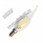 3,5Вт 2700К 220V Е14 Лампа светодиодная FERON теплая свеча на ветру FILAMENT LB-71 6LED