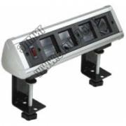 70314 Блок настольный с выключателем нагрузки на 4 модуля (45х45) на струбцинах (алюминий) , IP20