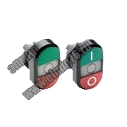 Кнопка MPD1-11C двойная (зеленая/красная) прозрачная линза без текста 1SFA611130R1108