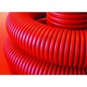 121990 Труба гибкая двустенная 90мм с протяжкой с муфтой красная (50м) бухта