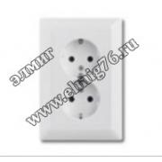 20-02 EUJ-94 Двойная розетка SCHUKO, альпийский белый 2014-0-1462