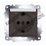 Розетка с заземлением с защитной крышкой алюминий Cosmo 619-011000-218