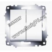 Выключатель 2-клавишный белый Cosmo 619-010200-202