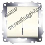 Выключатель одноклавишный кремовый с подсветкой Cosmo 619-010300-201