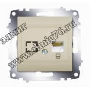 Розетка компьютерная (RJ45 cat 6 + гнездо) титаниум Cosmo 619-011400-247
