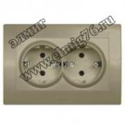 Розетка с/з двойная ABB Cosmo титаниум 6632-011400-907