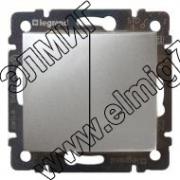 770105 Выключатель двухклавишный Алюминий VALENA