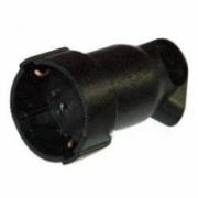 050197 Розетка с заземлением 16А черная резина Элиум (штепсельная)