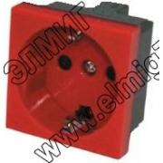 851107 Розетка с з/к, со шторками, красный LK45